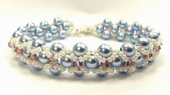 Cross-weave, Embellished Beadwork Bracelet Jewellery Making Kit with SWAROVSKI® ELEMENTS Light blue and Pink